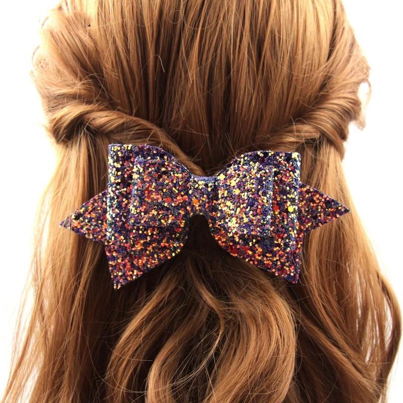 Fashion Bowknot Princess Hairgrips Glitter Hair Bows with Clip Girls Hairpins LG