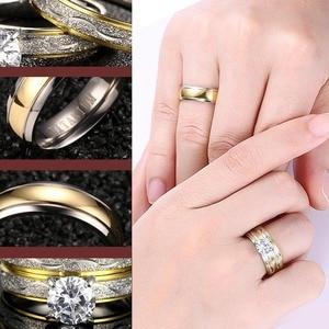 Image 3 - Anillos de boda para pareja, juego de anillos de circonia cúbica para mujer, anillo de titanio para hombre y mujer, accesorios 2019