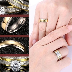 Image 3 - Wedding Rings Couple Cubic Zirconia Ring Set for Women Titanium Ring for Man Women Accessories 2019 Promise Godly Jewels