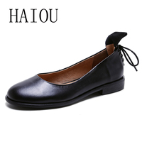 2017 Women Black Shoes Slip On Woman Genuine Leather Flat Shoes Fashion Handmade Leather Loafers Female
