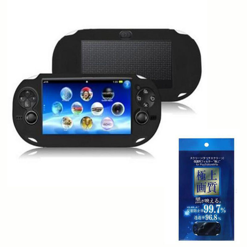Silicone Soft Cover Shell+ LCD <font><b>Screen</b></font> Protector Protective Film Skin Case for Sony PlayStation Psvita <font><b>PS</b></font> <font><b>Vita</b></font> PSV 1000 <font><b>2000</b></font> Slim image