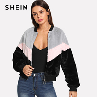 SHEIN Multicolor Preppy Chevron Fuzzy Zipper Up Colorblock Stand Collar Campus Jacket 2018 Autumn Casual Women Coat And Outwear