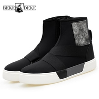 Punk Style Top Quality Brand Korean Streetwear Men Zipper Winter Warm Casual Shoes Pu Leather Male