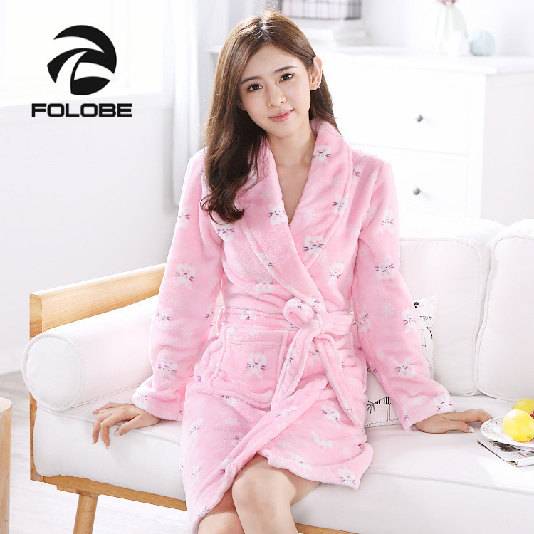 59d499c1603c2 US $19.94 5% OFF|FOLOBE Women Pink Cute Rabbit Flannel Long Kimono Bathrobe  Winter Warm Bath Robe Femme Dressing Gown Robes Nightgown Sleepwear-in ...