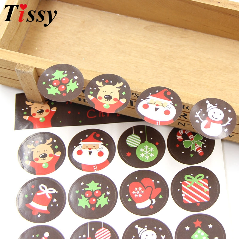 80PCS Merry Christmas Cute Santa Claus Paper Gift Tags Stickers Favors Christmas Party Accessories DIY Biscuit Gifts Decoration
