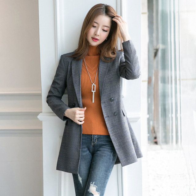 c21fef67897 2018 Autumn Slim British Style Double Breasted Houndstooth Casual Simple  Office Lady Women Plaid Long Blazer