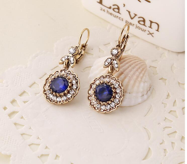 fashion antique gold Bohemian style blue stone flower crystal womens drop earrings xye238