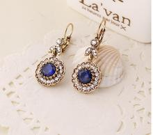 fashion antique gold Bohemian style blue stone flower crystal womens drop earrings xye238