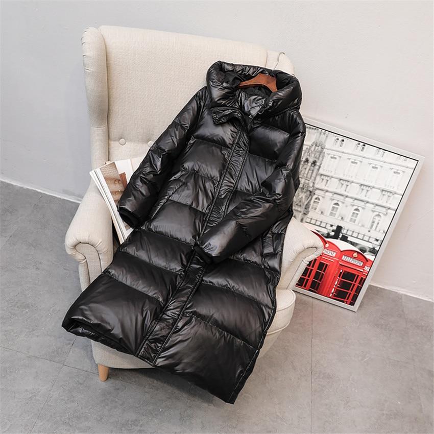 2019 Winter Big Size Women Long   Down     Coat   Light   Down   Jackets Slim Lady White Duck   Down   Jacket Hooded   Coats   Female Clothings 886