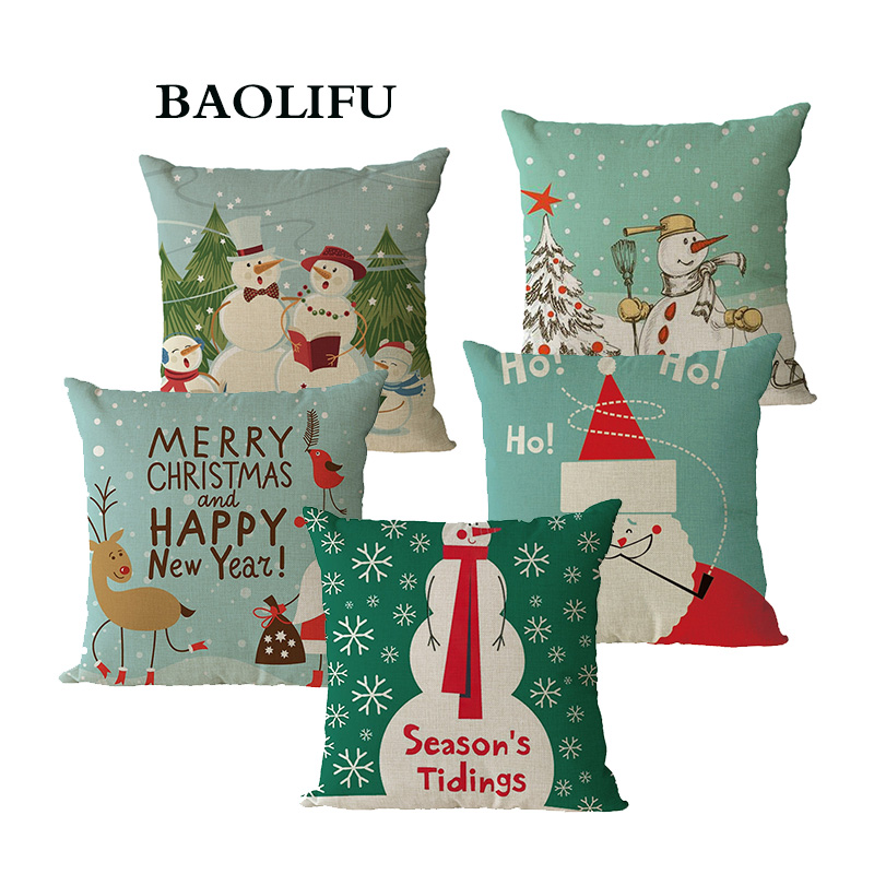BAOLIFU Christmas Pilow Cover Christmas Gift Christmas Pillow Cheap Cushion Cover for Sofa Christmas Decorations for Home B043