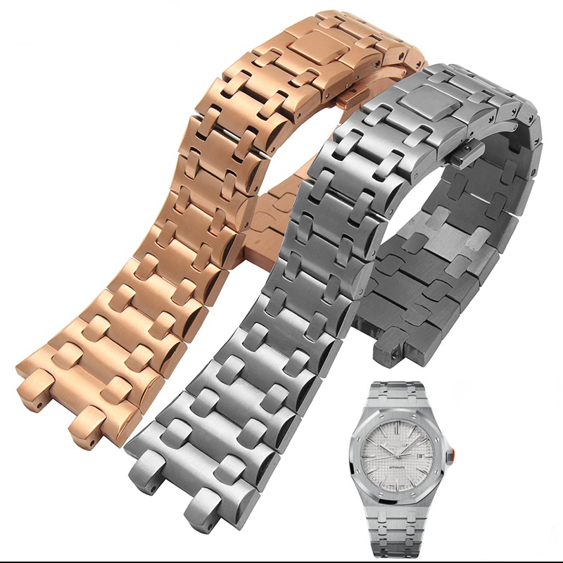 Free shipping 28mm high quality imported stainless steel watch bracelet with fashionable buckle Watch accessories For 15400 цена