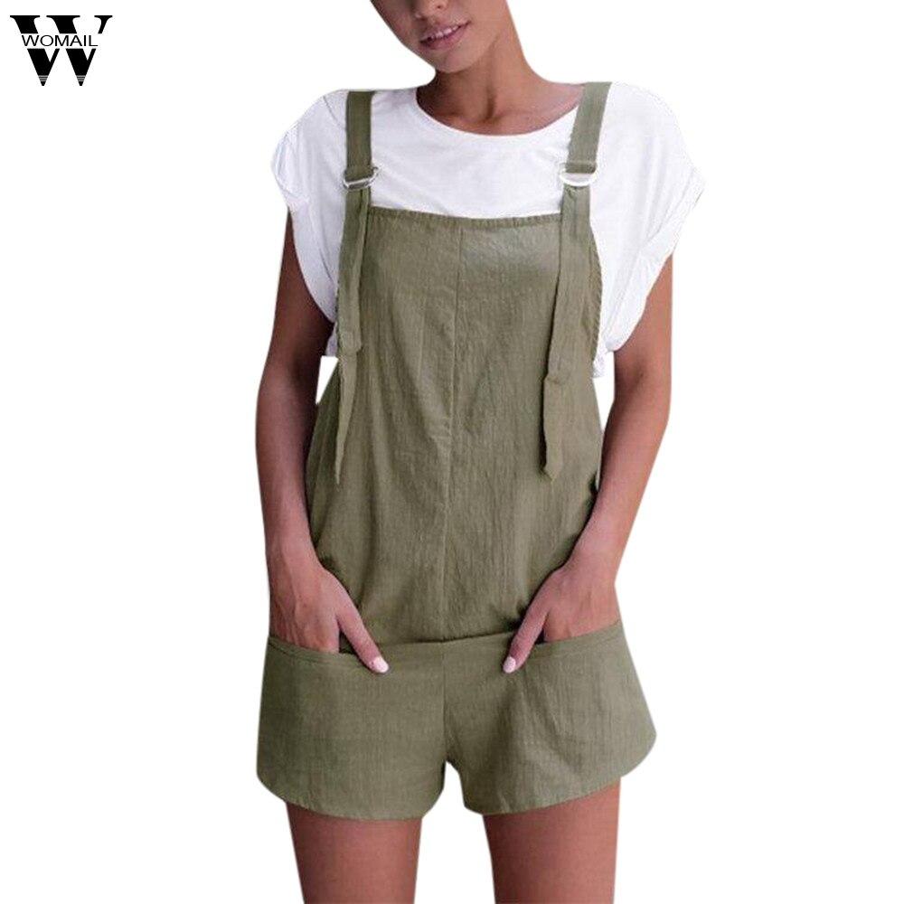 Womail Bodysuit Women Summer Fashion Casual Elastic Waist Dungarees Linen Cotton Pockets Rompers Shorts Playsuit Dropship M6