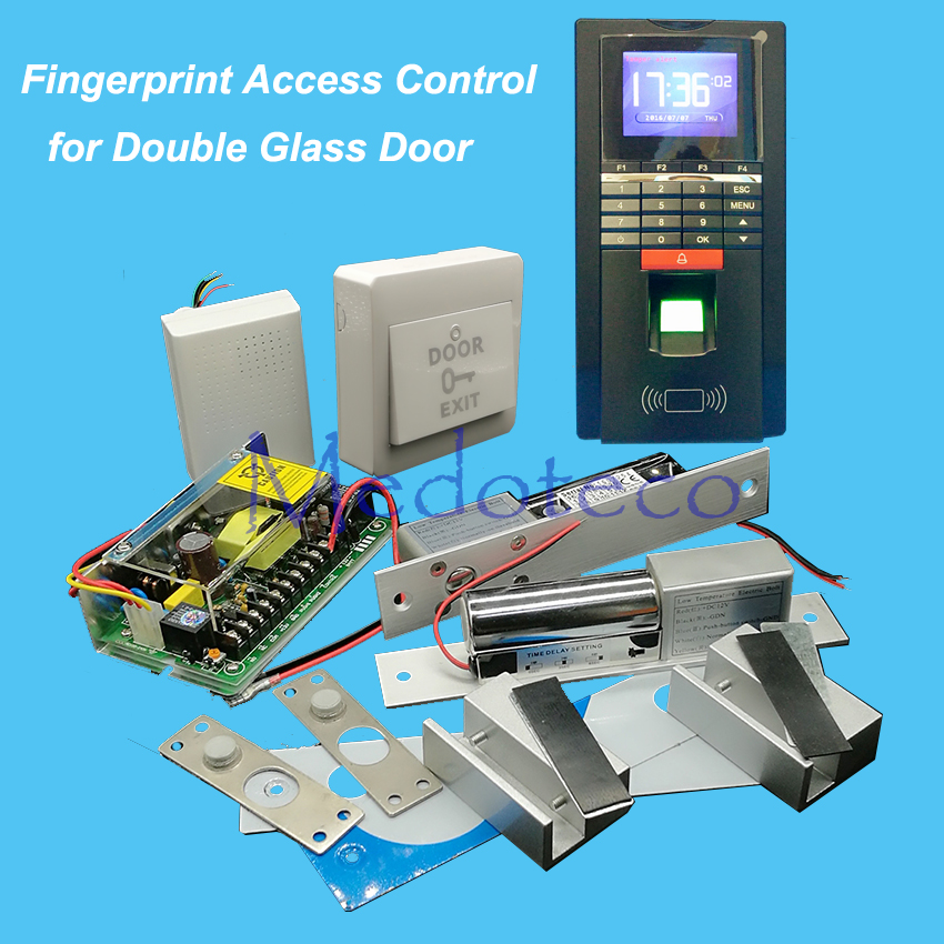 DIY Full Double Glass Door Access Control Kit Fingerprint Access Controller + Two Electric Bolt Lock + Power Supply fcl700c wooden glass anti fire bi directional door 500 000 times reliable power on lock electric bolt lock