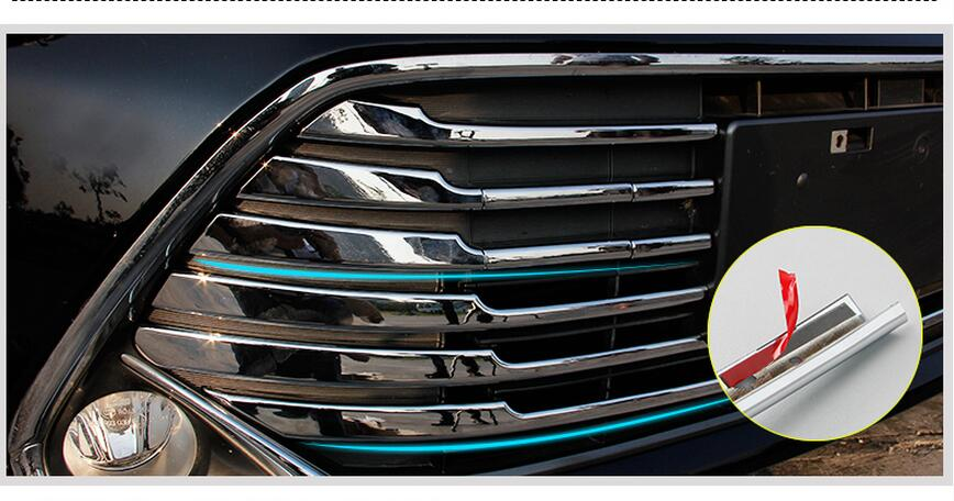 ABS Chrome Front Center Grill Grille Trim Car Front Cover Trims Before Light Bar 11pcs For Toyota Camry 2015  цены онлайн