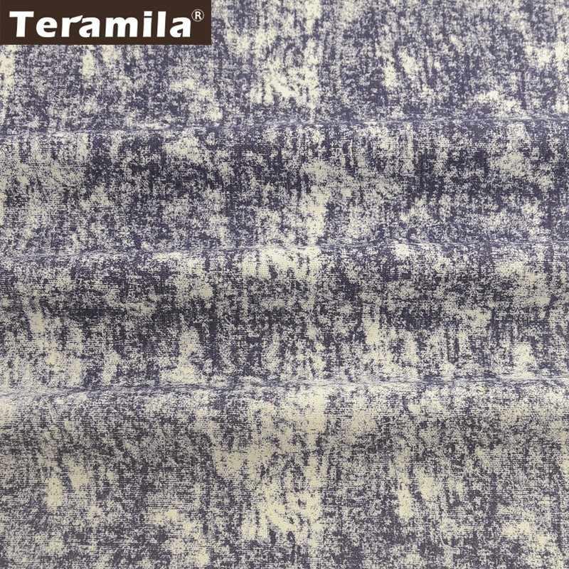 Teramila In Cotone E Lino di Metri di Tessuto Ankara Africano Telas Tissu Tende FAI DA TE Patckwork Materiale Tovaglia Cuscino Sacchetto Blu Scuro