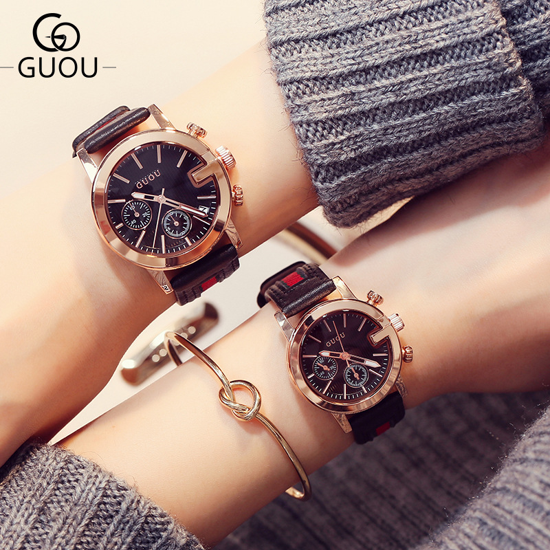 Guou Fashion Couple Watch Man And Woman Waterproof Brand Quartz Wrist Watch Unisex Pair Clock For Lovers Calendar Trend Student