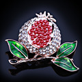 FARLENA Jewelry Cute painted red pomegranate brooch fashion rhinestones brooches pins for women wedding party dress accessory