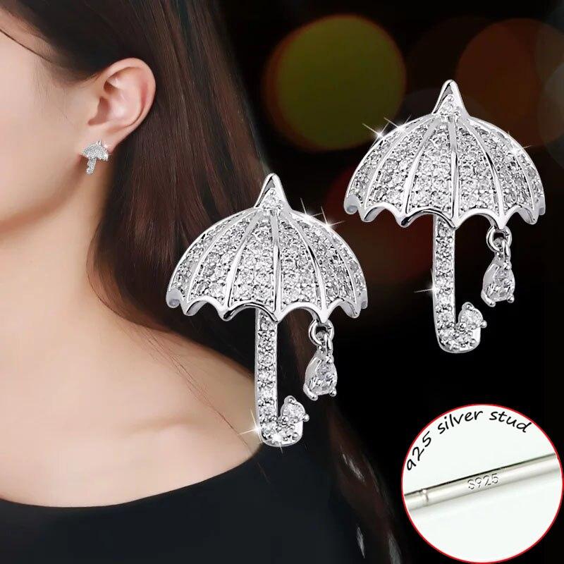 Real 925 Sterling Silver /& Enamel Umbrella Stud Earrings Studs Weather Rain