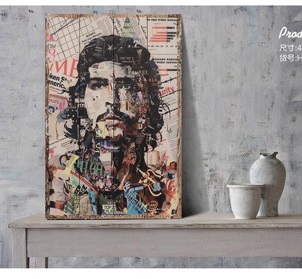 60 Cm Top Cool Wooden Decor Art Che Guevara Vintage Wood Painting Drawing Home