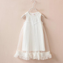 1c64b73db Niñas vestidos últimos modelos estilo de moda borla del bebé de las  muchachas del verano los niños malla vestidos para niña niño.