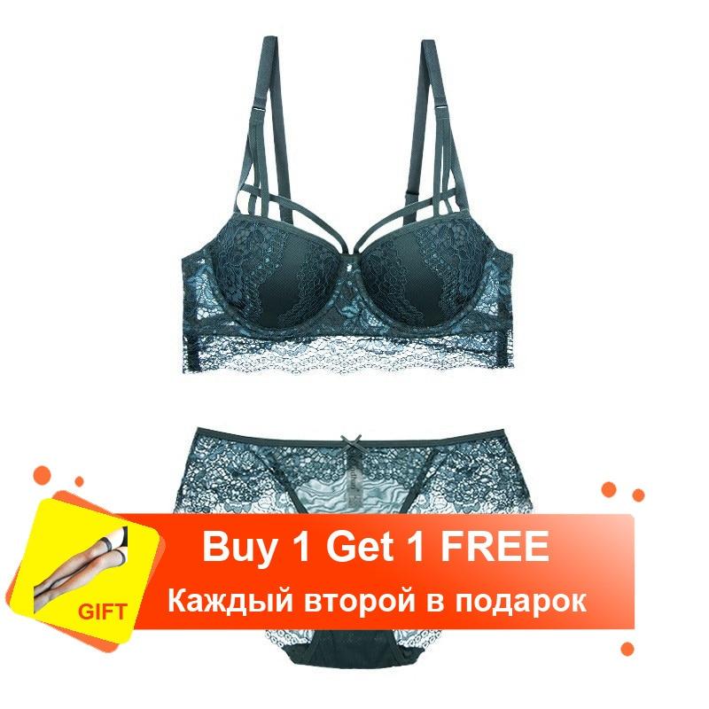 YSANSCA Lace Push Up Padded Bras Gathering Underwear Set Women Sexy VS Transparent Lingerie bra Set ABC Cup Front Closure