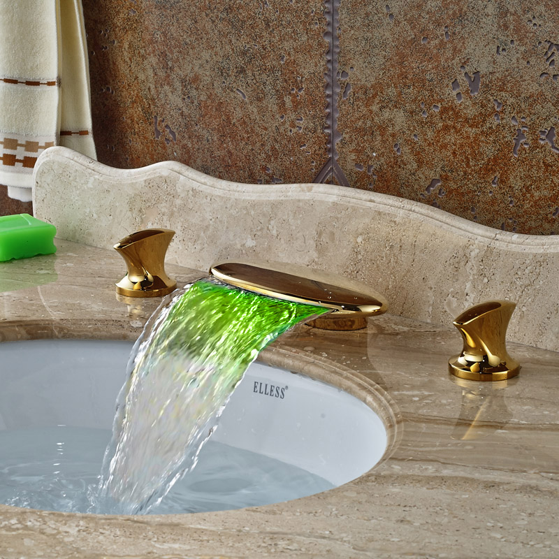 Golden Bathroom Basin Led Faucet Water Powered Led Waterfall Mixer Taps 3 Colors Changed by Water Temperature