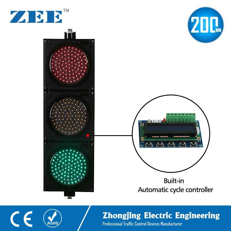 Автоматическая цикл работает контроллер светодиодный светофор 200 мм 8 дюймов светодиодный свет светофора светодиодный знак контроллер све