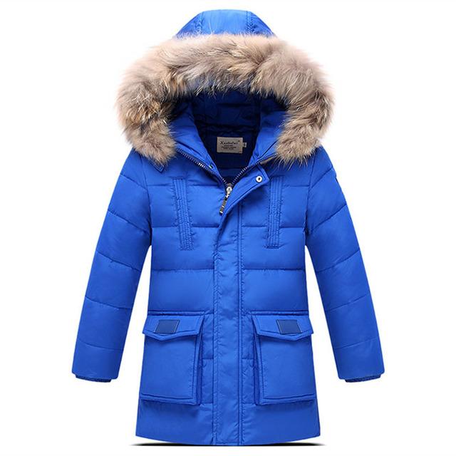 120-150 cm Ruso Invierno Abajo Niños de la Capa Niños Prendas de Abrigo Chaqueta de Piel Verdadera Ropa de Abrigo Engrosamiento Niño Niños sombrero