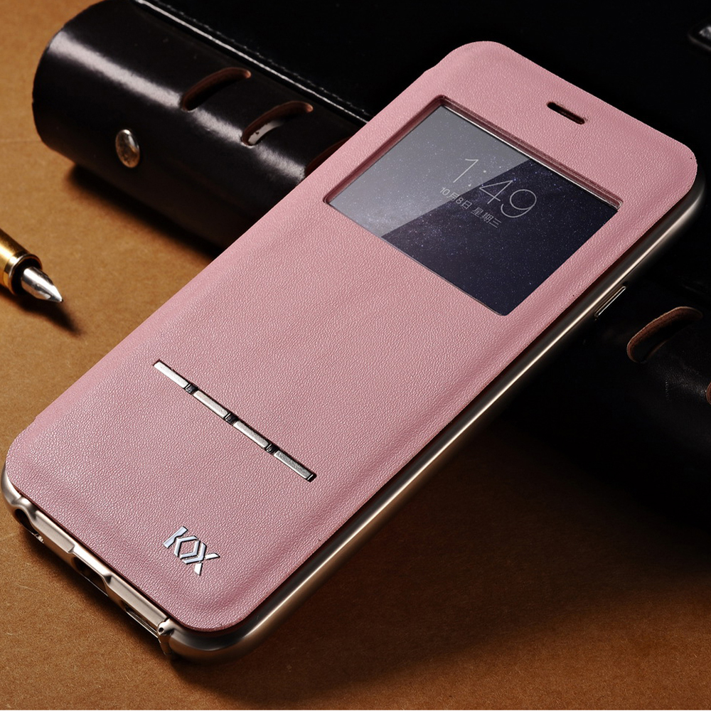 Luxury Rose Gold PU Leather Flip Cover For Apple IPhone 6 6S Plus With Aluminum Frame Full Protection Window Design On Aliexpress
