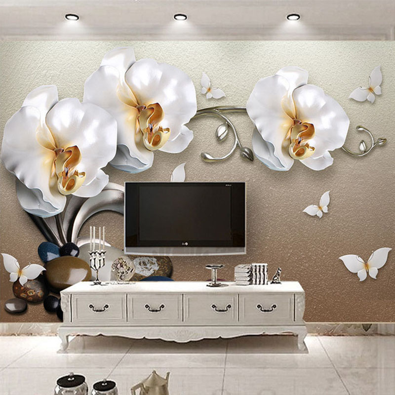 High quality 3d stereo golden jewelry butterfly orchid for Hotel room wall decor