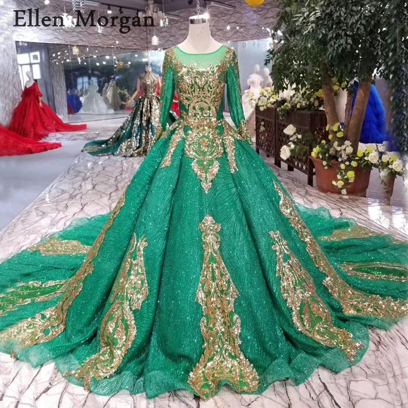 Glitter Wedding Gowns: Green Glitter Long Sleeves Wedding Dresses For Women Puffy