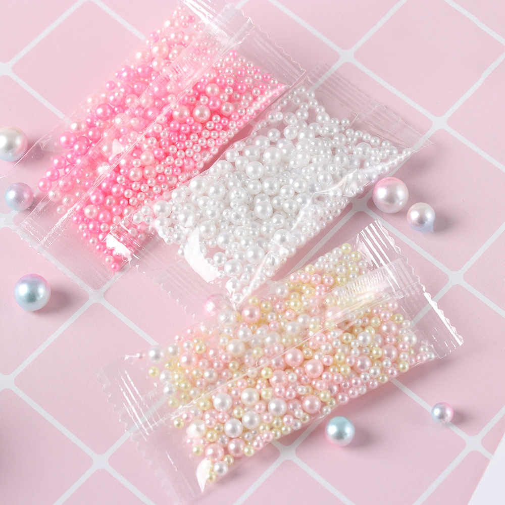 500Pcs/Bag New Rainbow Color Round UV Resin Imitation Pearl Beads Fashion Mix No Hole Loose Beads Jewelry Making DIY Crafts