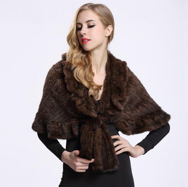 Genuine Knit Mink Fur Shawl Poncho With Rose Flower Womrn Winter Natural Fur Mink Coats