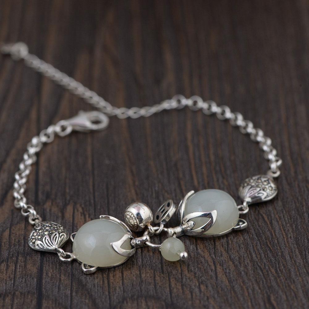 7eef36168 925 zorro de plata Pulsera de encanto Natural Yu piedra 17 cm + 5 cm de  cadena de enlace Original Vintage S925 pulseras de plata para la joyería de  las ...