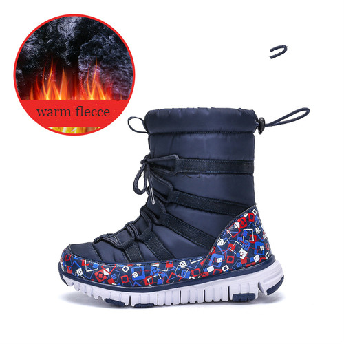 Teenage Children Winter Boots Waterproof Mid Calf Snow Boots for Kid Pu Warm Plush Children s