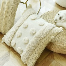 Luxury  Handmade Cushion Cover Ivory Pillow Case  Tufted Plush with Tassels For Sofa Couch Home Decorative Linen 45*45cm