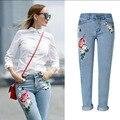 Высокое Качество Новая Мода Карандаш Брюки женщина тощий Вышитые джинсы для женщин vaqueros mujer boyfriend жан джинсовые брюки