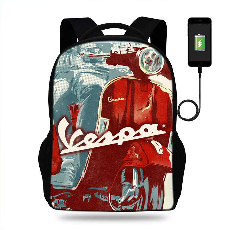 Cartoon Vespa Motorcycle USB Charging backpack for teenager boys girls women laptop kids school bag Halloween gift