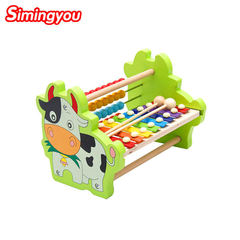 Simingyou Wood Toys Dairy Cows Bears Octave Piano Baby Learning Math Montessori Toys For Children B40-A-99 Drop Shipping