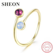 SHEON 925 sterling silver Trendy Color Crystal Open Adjustable Finger Ring for Women Authentic Sterling Silver Jewelry  2 Colors
