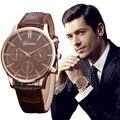 Venta caliente hermoso reloj de números Romanos de las mujeres de imitación de cuero de cuarzo analógico relogio relojes de pulsera relojes mujer 2016 Louise