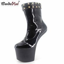 c214f92285c1 Wonderheel extreme high heel 8″ heelless with phatform black patent sexy  fetish strange heel ankle ...