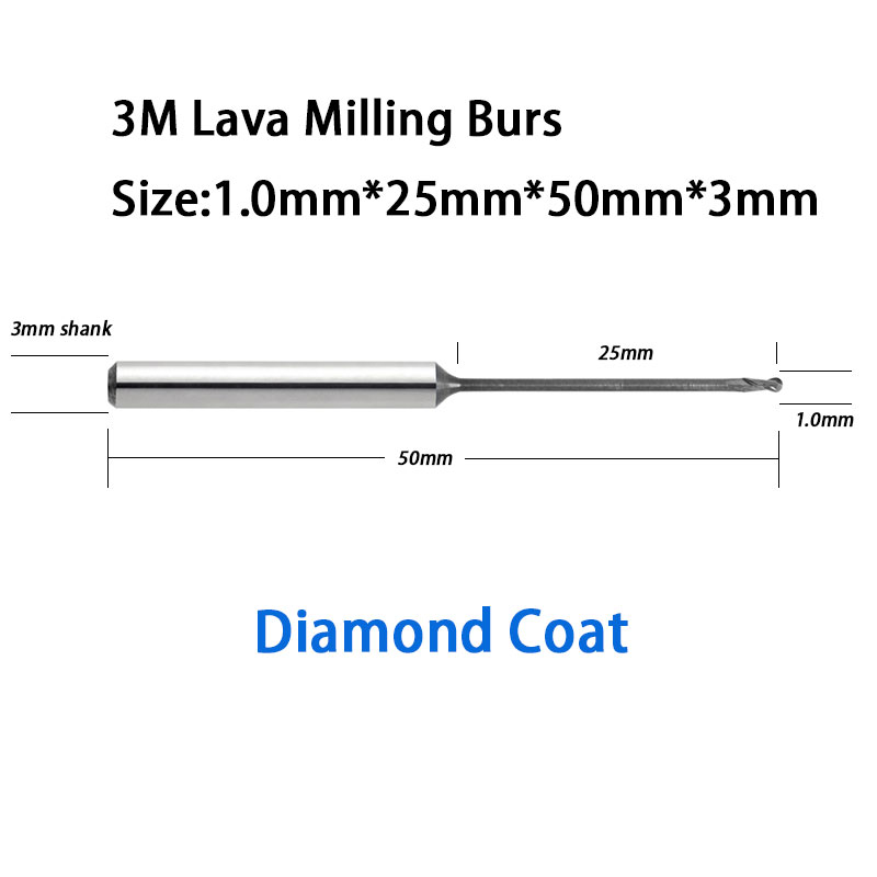 3M Lava 500 CADCAM Milling Burs Tools With Diamond Coat 1.0mm Head Diameter 50mm Length austria ruwido i 1k 100k 220k 470k axis length 50mm