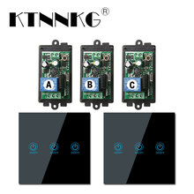 433MHz 1 Gang Remote Light Switch Wireless Relay Receiver Module with 86 Touch RF Transmitter Tempered Glass AC 85V 110V 220V