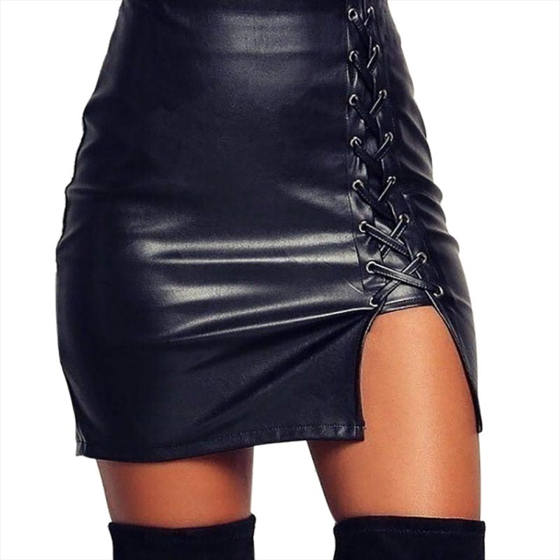 Lady Skinny High Waist Skirts Sexy PU Leather Skirt Women Elegant Lace Up Mini Skirt Black
