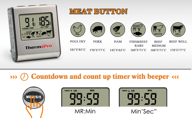 Thermopro TP16 LCD Digital Cooking Kitchen Food Meat Thermometer for Grill Oven Smoker Clock Timer with Stainless Steel Probe