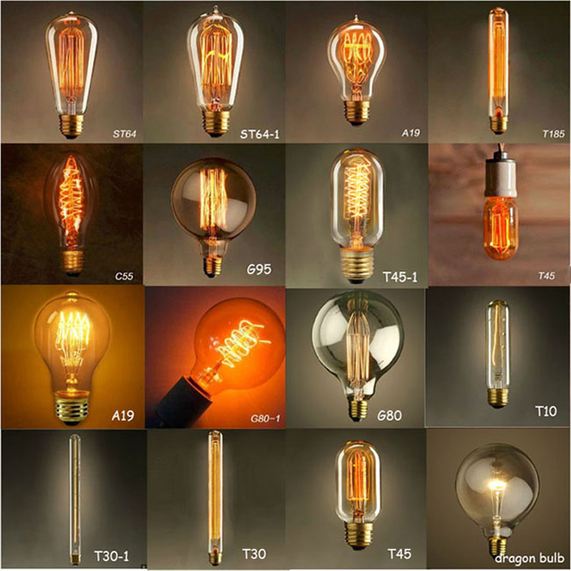 vintage Edison Light Bulbs Tungsten wire light source Pendant Lights 110V 220V E27/E26 Brass Lamp Holder Incandescent Bulbs