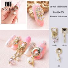 Zircon 3D Nail Decorations Gold Color Heart Beauty Design Shining Crystal Rhinestones Art Decoration Accessories