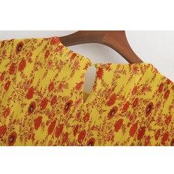 SheMujerSky kobiety żółty kwiatowy Midi sukienka plaży latem kobieta sukienka O-neck sukienka letnia 4