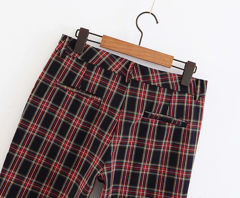 2018 Women Red Plaid Pants British Style Retro Vintage Checker Pattern Trousers 4